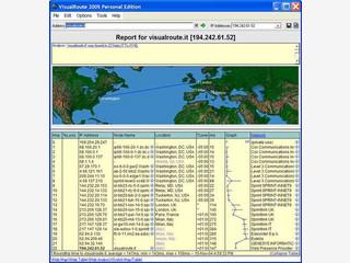 Zeigt Ihnen auf einer Weltkarte den Weg zu einem Webserver.