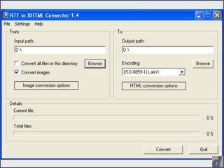 RTF to XHTML Converter  konvertiert viele Word-Dokumente in HTML mit CSS Style