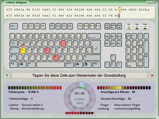 Tastatur-Lernprogramm zum systematischen Erlernen des 10-Finger-Systems.