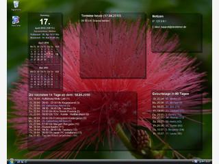 Terminplaner, der die Termine als Desktophintergrundbild darstellt.