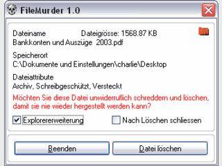 Dateien direkt aus dem Explorer sicher und unwiderruflich löschen