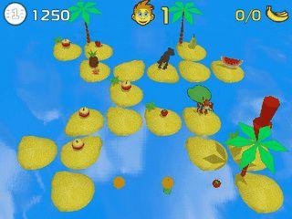 Einfaches Hüpfspiel. Ein Affe muss Früchte einsammeln.