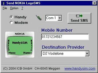 Operatorlogos per Modem oder ISDN an NOKIA-Handys senden