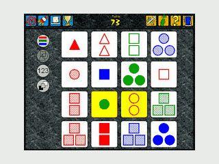 Anspruchsvolles Logikspiel um Farben, Formen, Anzahl und Füllung.