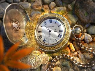 Toller Screensaver der eine funktionierende Uhr unter Wasser zeigt