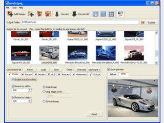 Einfache Konvertierung von Bildern in das JPG Format. Verschiedene Optionen