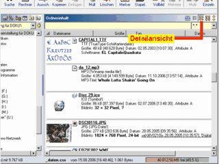 Dateimanager der Bilder, Texte und TrueType Fonts anzeigen kann