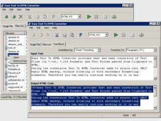 Konvertiert Texte im TXT oder RTF Format in HTML.