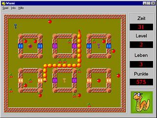 Wurmi ist ein klassisches Arcadegame für Kinder mit lustiger Grafik.