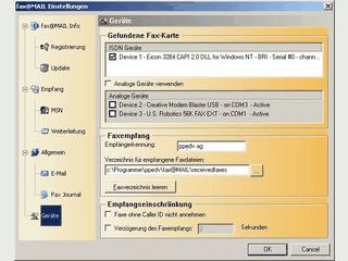 Faxempfänger für ISDN Karten. Empfang über MSN und Weiterleitung per e-Mail.