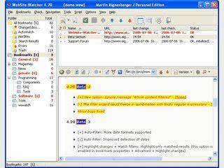 Prüft Webseiten auf Updates und hebt Änderungen optisch hervor.