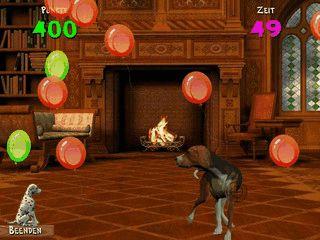 Einfaches Spiel bei dem ein Hund Ballons zerplatzen lässt.