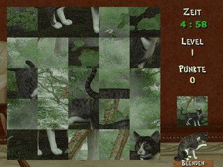 Einfaches Puzzle mit vier verschiedenen Bildern von Katzen.