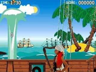 Ein Shooter in dem Sie mit Kanonen auf Schiffe und Papageien schiessen.