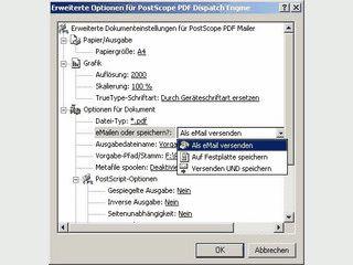 Wandelt beliebige Dokumente in PDF und sendet dieses als eMail-Anhang