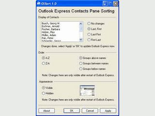 Sortiert Outlook die Express Kontaktliste nach verschiedenen Kriterien
