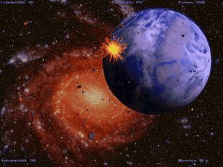 Schnelles 3D Weltraumballerspiel aus der Ego- Perspektive