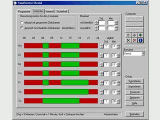 Kindersicherung für den PC mit Programm-, Zeit- und Internetkontrolle.