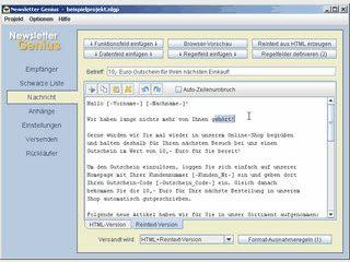 Software zum Versenden von personalisierten Serienmails.