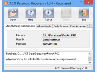 Wiederherstellung von ACT! Passwörtern.