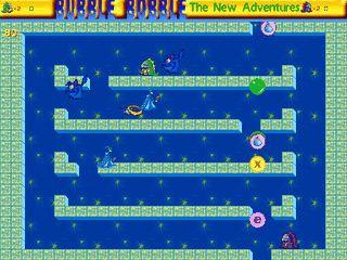 Recht originalgetreues Remake des Arcade-Klassikers Bubble Bobble.