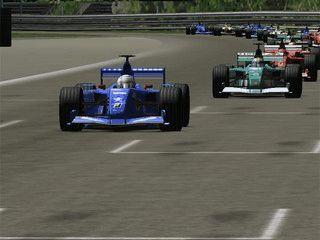 Realistischer 3D Bildschirmschoner der ein Autorennen zeigt.