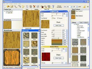 Texturendesigner mit über 500 Presets wie z.B. Holz, Metalle, Wasser usw.
