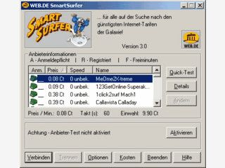 Der SmartSurfer von web.de findet f�r Sie immer den g�nstigsten Online-Zugang.