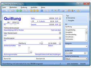 Digitaler Quittungsblock zum schnellen Ausfüllen von Quittungen