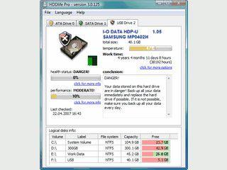 HDDlife zeigt Ihnen Informationen über Ihre Festplatten in einem übersichtlichen