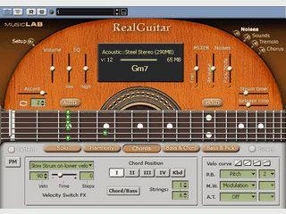Virtuelle Gitarre die mit der Maus gezupft wird.