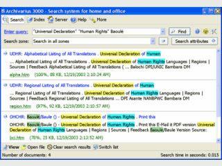 Volltextsucher for Dokumente und E-Mails in 18 Sprachen.