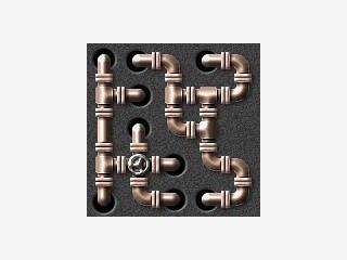 Kniffliges Puzzlespiel bei dem Sie Steine/Scheiben verbinden müssen.