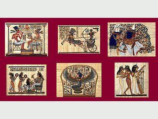 45 Bilder im Stile ägyptischer Papyrus-Bilder als Screensaver