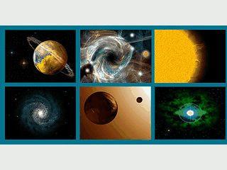 Fantasy-Bilder von Sternen, Monden und Galaxien