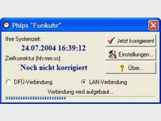 Phips Funkuhr holt die Uhrzeit aus dem Internet und korrigiert die PC-Zeit.