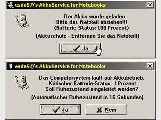 NT-Service zur Überwachung der Akkuladestände.
