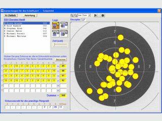 Auswertung von Trainingseinheiten und Wettkämpfen mit Schussbildanzeige