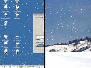 Der Bildschirmschoner läßt es auf Ihrem Bildschirm schneien.