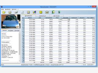 Software zur Berechnung der durchschnittlichen Benzinkosten.