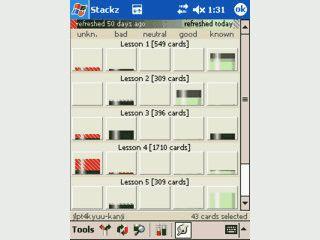 Karteikarten-Lernsystem für Pocket PC mit Unterstützung asiatischer Schriften