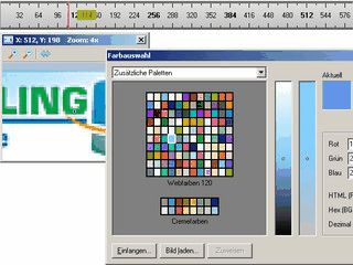 Pixellinal für den Bildschirm mit Lupe und Farbauswahl.