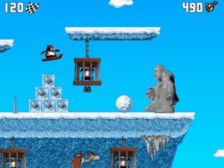 In diesem rasanten Snowboard-Rennen plündern Sie die Yeti-Höhlen