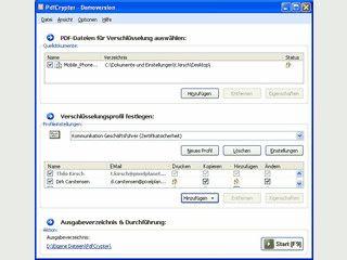 PdfCrypter ermöglicht die nachträgliche Verschlüsselung und Sicherung von PDFs