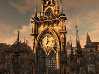 Realistische Kirchturm-Uhr in einer mittelalterlichen Kulisse
