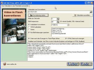 Konvertiert Videodateien der Formate AVI und MPEG in Flash Dateien.