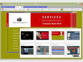 Editor mit dem sich eine Flash-basierte Website aus 54 Templates erstellen läßt.
