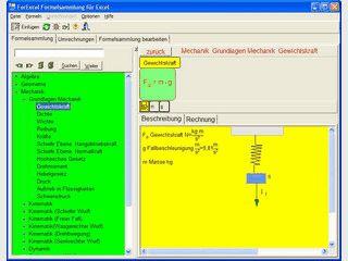 Algebra-, Geometrie- und Physik-Formelsammlung für Excel