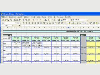 Erzeugt einen Dienstplan als EXCEL-Tabelle für zwei Wochen mit Kalenderfunktion.