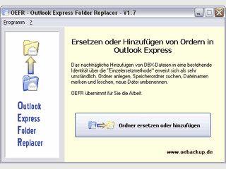 Ersetzen bzw. Hinzufügen von DBX-Dateien als Outlook Express Ordner